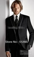Custom design Black Groom Tuxedos Peak Lapel Best prom Man Suits Groomsmen dress party Men Wedding Suits (Jacket+Pants+Vest+Tie)