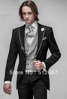 Custom Slim Fit Groom Tuxedos Black Peak Lapel Man for Groomsmen dress Men Wedding Suits Prom/Bridegroom (Jacket+Pants+Tie+Vest