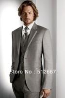 Free ESM/Top sell/Best men's Suit custom western Wedding italian gray( jacket+Pant+vest+tie)Groom Tuxedo man for Groomsmen dress