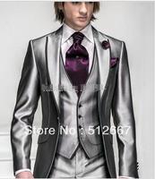 CHEAP One button Peak Lapel Groom Tuxedos Best italian Man for Suits Groomsmen Men western Wedding Suits (Jacket+Pants+Vest+Tie)