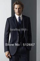 High quality Two buttons CHEAP Notch Lapel Navy Blue Groom Tuxedos Men's Wedding Best man Suit Groomsman Dress/Bridegroom Suits
