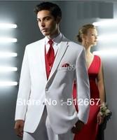 Custom cheap white Groom Tuxedo party Man for Slim Fit groomsmen dress prom Men western Wedding Suit (Jacket+Pant/red Tie+Vest)