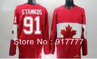 Free shipping Team Canada 91 Steven Stamkos  Ice Hockey  Jerseys for 2014 Sochi  Winter Olympics Red all embroidery logo