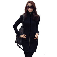 Free Shipping 2013 New Women's Slim Zipper-up Fall One-Piece Dress Casual Black S,M,L,XL, XXL, XXXL RG1311