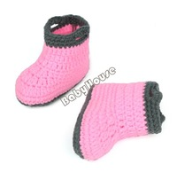 4 Sets/lot Hot Baby Winter Crochet Wool Knit Beanie Hat Shoes Set Newborn Photography Prop Gray + Pink 0-9 Months 18966