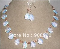 """Hot Sale Pink pearl & opal necklace & earring set 17.5""""  fashion jewelry"""
