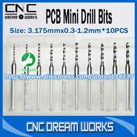 A set of 10pcs 0.3-1.2mm New  Mini PCB drill Bits Tungsten Steel Carbide PCB CNC drill Bits Milling Machine W0146