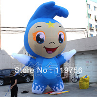 Free shipping!!! 5mH Cute inflatable blue cartoon Wave with blower(BMCT227)