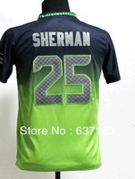 Christmas Gifts.Buy Youth Seattle #25 Richard Sherman Blue/Green Drift Fashion II American Rugby Football Sports Jersey,Stitched