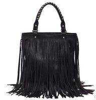 New European and American Big Retro Fringed Shoulder Bag Hologram Messenger Tassel Bags  female bag
