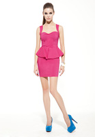 2014 new women's fashion boutique simple solid color star models flounced Slim girl dresses