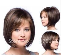 2013 Beautiful Classic hair,Brown and Auburn lightspot Fashion hair,Lady wig,Short hair,,High-quality,Free shipping
