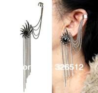Fashion European Silver Plated Alloy Black Rhinestone Flower Ear Stud Clip Ear Cuff 6pieces/lot