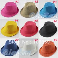 Children's Hat Baby Trilby Fedora Hat Cap Solid Color Kids Jazz Cap Infant Linen Top Hat 10pcs/lot FH017
