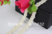 1 Yard 2 Rows White Lace Pearl Beaded Trim Ribbon For Sewing Wedding Apparel Decoration H137