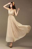 women dress V-neck lace sleeve chiffon dress Bohemian beach maxi dresses lace plus size pleated clothes summer free shipping 027