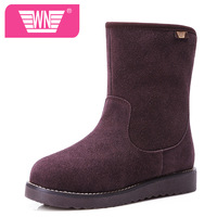 New arrival 2013 casual winter boots winter boots genuine leather medium-leg winter boots female shoes flat warm boots