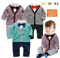 2013 baby boy gentleman plaid romper,kids jumpsuit with bowknot ,3pcs/lot,