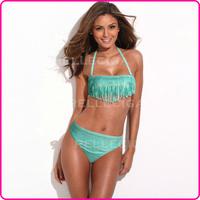 RELLECIGA Bandeau Bikini Series - Green + Metallic Pattern Sexy Fringe Bikini Swimwear Swimsuit Bathing Suit