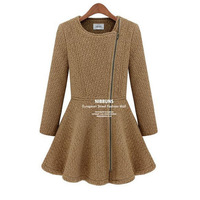 Fashion women's round neck zipper slim woolen coat jacket winter clothes CL_43