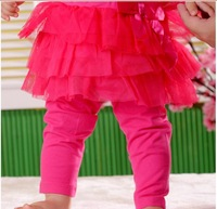 Retail+Free shipping Baby Girls capri pants,net yarn princess pantskirt,girl skirt leggings,knee length 4 colors,infant Pants