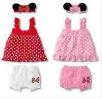 New 2014 Summer ! Minnie Sleeveless Princess Dress + Shorts + Suspenders Ribbon Suit Baby Clothing Children Clothing