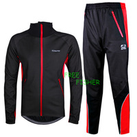 Men's Cycling Bicycle Clothing Long sleeve Fleece Jersey + Pants