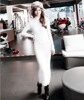 2013 autumn and winter autumn one-piece dress knitted long-sleeve turtleneck slim hip turtleneck jumpsuit full dress female
