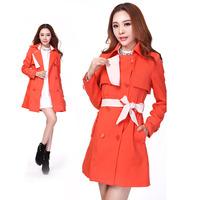Korean fall winter Women's long coat Windbreaker long-sleeved jacket CL_46