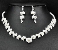 3set/lot Shiny Rhinestone Pearl Bride Necklace Earring Set Crystal Bride Wedding Jewellery Set Free Shipping 6448