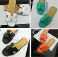 European summer classic leather designer shoes H family flats in Europe and the leather female sandals