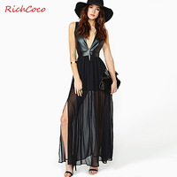 Fashion sexy richcoco PU patchwork racerback high waist chiffon tank dress deep V-neck d257 one-piece dress