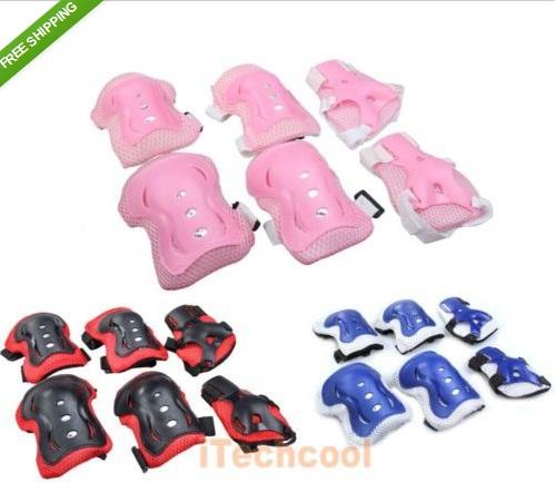 Free shipping wholesale Kids Cycling Roller Skatinag Knee Elbow Wrist Guard Protective Pad 3 Colors(China (Mainland))