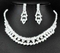 3set/lot Shiny Rhinestone  Bride Necklace Earring Set Crystal Bride Wedding Jewellery Set Free Shipping 6454