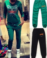 free shipping new fleece embroidered tiger head women's sweater's casual sweatpants baggy pants women 2013
