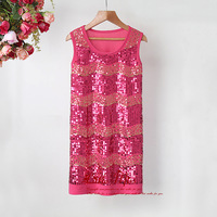 Newest Girl Dress Hot Pink Sequined Dresses Fashion Kids Polyester Dresses Children 2014 New Year Wear Hot Sale Ready Stock