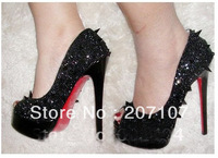 Daffodil Gold sandals Crystal Red bottom shoes Pumps high heel shoes !designer crystal and spike platform shoes for women