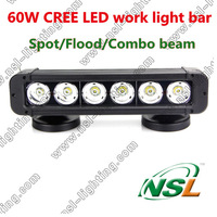 Free shipping 11''  IP68 5100LM 60W CREE LED work light  Spot/Flood/Combo offroad head fog light bar 10-70V Car Truck 4WD Boat