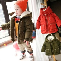 Toddler Baby Boys Girls Cotton-Padded Jacket Warm Winter Snow Hooded Lamb Wool Army Green Coat Size 7M-3T Children OutWear W684