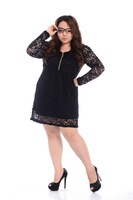 LS1076 Long sleeve Autumn summer New 2013 Party Dress Women sexy dresses Lace Big Plus size XXXL 4XL Factory Direct