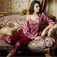 2013 Sale fashion Sexy Silk robe costume Sexy Full Slips (Vest+Slip+pant 3 pieces) Lace Sleepwear sets 2 colors Fee shipping