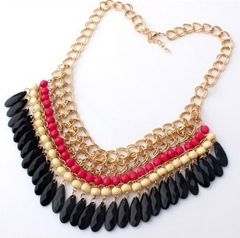 2013 New Vintage Gold Layered Bohemian Tassels Drop Choker Chain Pendants Statement Necklace Fashion Jewelry For Women Wholesale(China (Mainland))