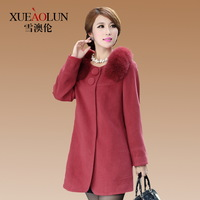 Cashmere overcoat female 2013 fox fur woolen outerwear loose