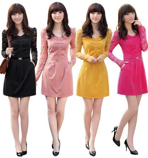 Женское платье Autumn plus size slim long-sleeve dress elegant ol lace V-neck women's professional autumn