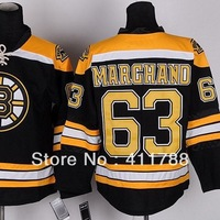 #63 Brad Marchand Black White Golden Boston Bruins stitched ice hockey jerseys cheap