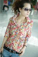 new 2014  Women New Button collar chiffon Shirt blouse fashion Women Casual full Flower floral print half Sleeve blouse