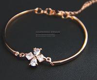 HEB039 Wholesale 14K rose Gold Women tops Crystal Cross Bangles Bracelets pulseiras femininas pulseras mujer