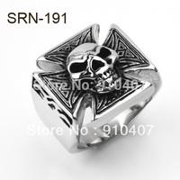 Free Shipping 5pcs/1Lot  316L Stainless Steel Popular Cross Skull Rings