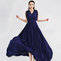 2014 the latest fashionable women v-neck Bohemia casual dress skirt, big pendulum sweep the floor, dress22.