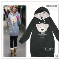 With a hood pullover sweatshirt bear medium-long double layer cap fleece outerwear Women
